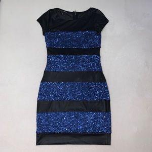 Bebe Addiction Black and Blue Sequin Striped Dress